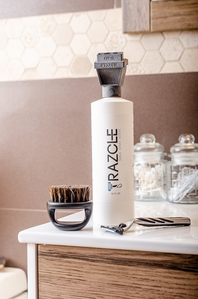 ShaveAware's Beard Brush means no messy hands, which mean less water wasted.