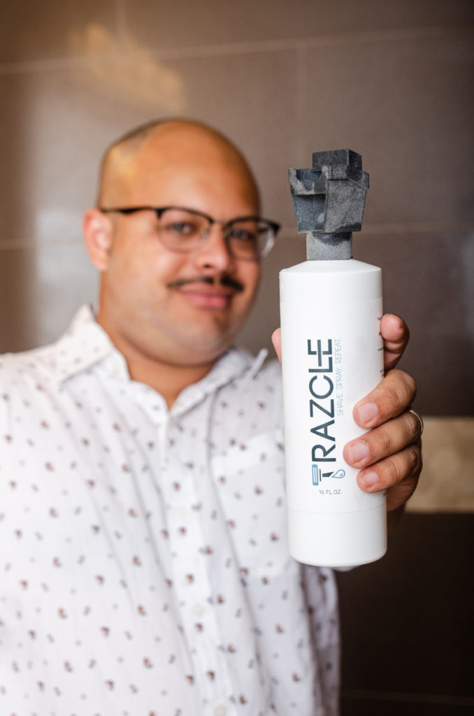 RAZCLE is a patented blade-cleaning, water-saving device